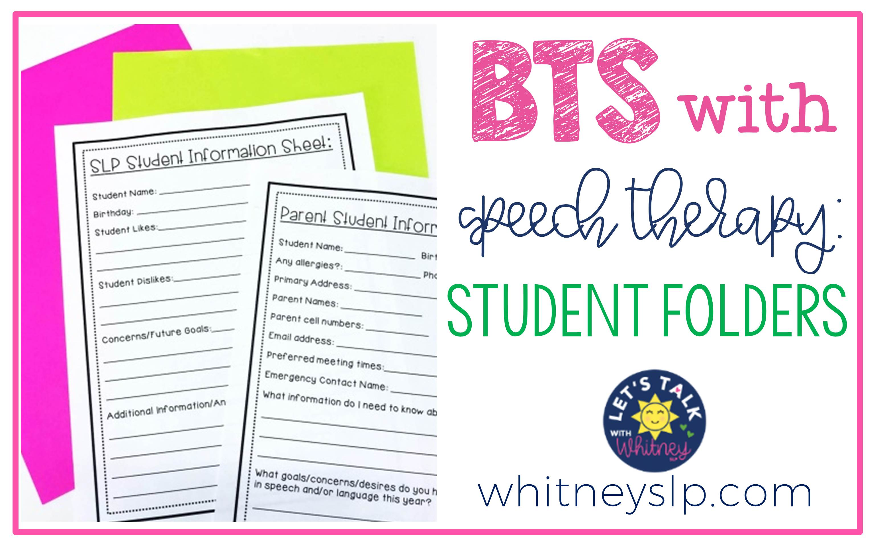 Back to School with Speech Therapy: Student Folders - Let's Talk